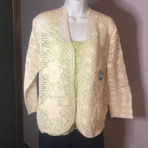 NWT Fantastic Lim's Hand Crochet XL Cream Cardigan